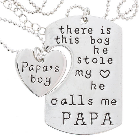 He Calls Me PAPA - Dog Tag Necklace Set