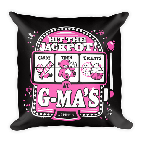 """Hit the Jackpot at G-MA's"" Throw Pillow"