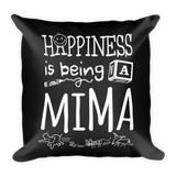 """Happiness is Being a Mima"" Throw Pillow"