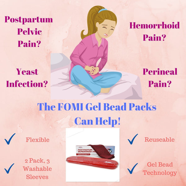 Hemorrhoid and Perineal Gel Bead Ice Pack by FOMI Care | 2 Pack, 3 Washable Sleeves | Hot and Cod Therapy for Hemorrhoid Treatment and Perineal Pain Relief | Postpartum Cold Compress & Heating Pad - FoMI Care