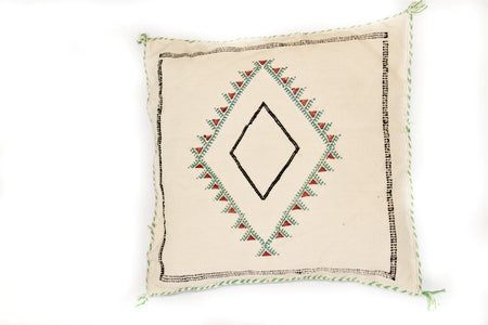 White and Green Sabra Pillow - kasari
