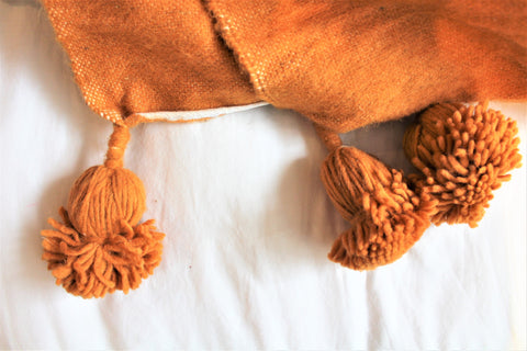 Orange Wool Blanket - kasari