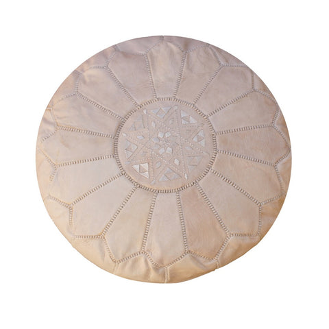 Light Pink Leather Moroccan Pouf