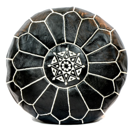 Black Leather Moroccan Pouf - kasari