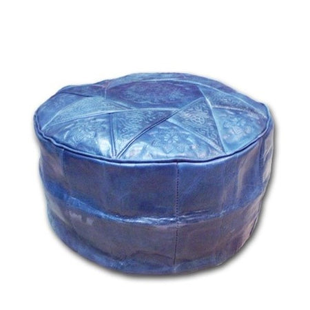 Blue Moroccan Leather Pouf - kasari