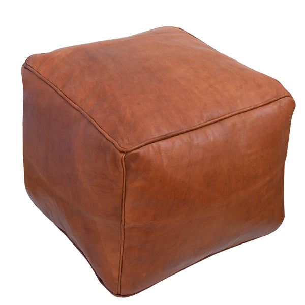 Leather Square pouf - kasari