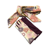 Scarf and burgandy fingerless gloves with flower pattern
