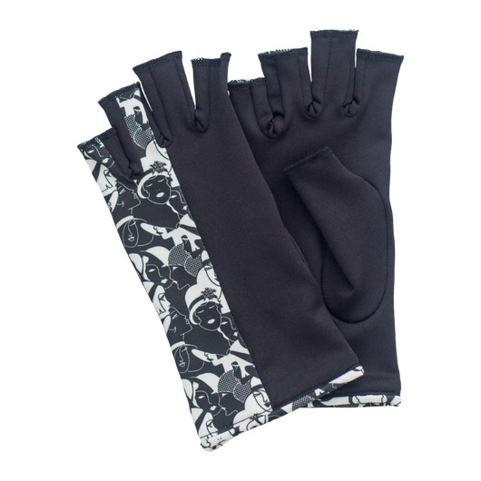 Black and Gatsby design fingerless gloves