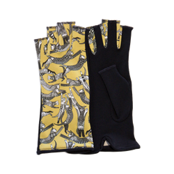 Black and Yellow fingerless gloves with Cats motives
