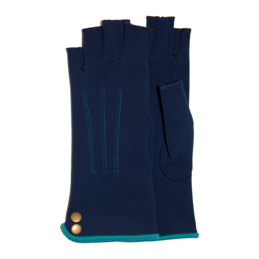 Blue fingerless gloves with buttons ornement