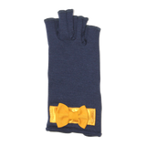 Blue fingerless gloves with golden satin bow