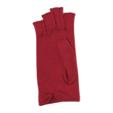 Red fingerless gloves with assorted bow