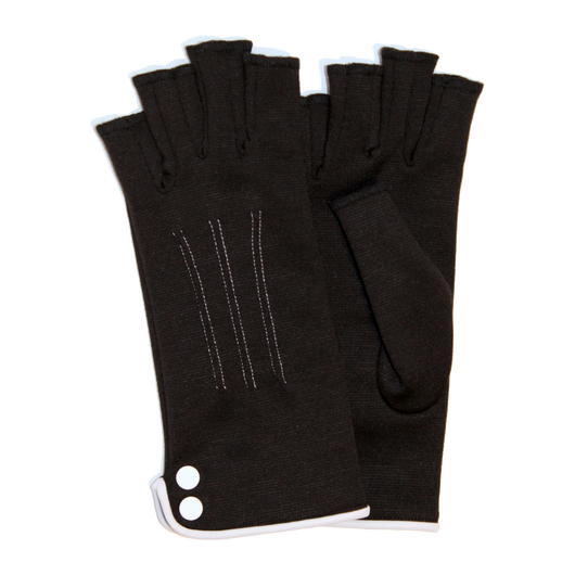 Black fingerless gloves with buttons ornement