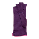 Purple fingerless gloves with buttons ornement