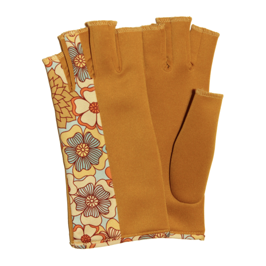 Gold fingerless gloves with flower pattern