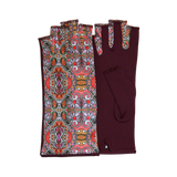 Red fingerless gloves with Art Nouveau motives