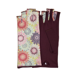 Burgandy fingerless gloves with vintage flowers motives