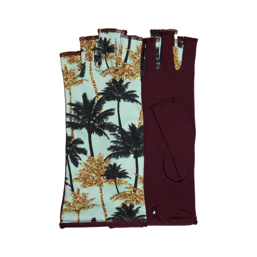 Red fingerless gloves with gold palm tree motives