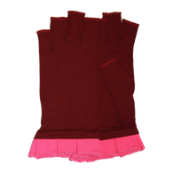 Red fingerless gloves with pink ruffle