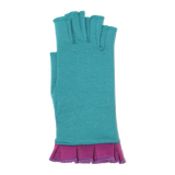 Turquoise fingerless gloves with red violet ruffle