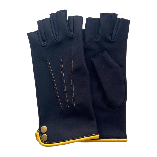 Fingerless gloves, mittens black and yellow. Designed and made in France.