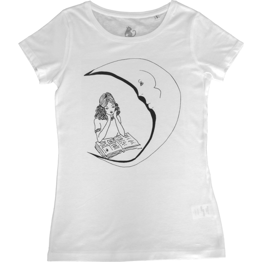 White T-shirt with Moon and Woman motive