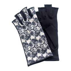 Black and white lace fingerless gloves