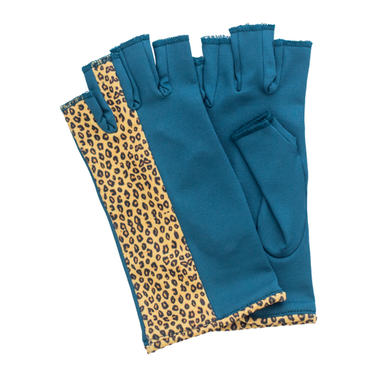 Green and leopard fingerless gloves