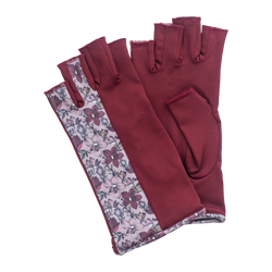 Bordeaux and floral pattern fingerless gloves