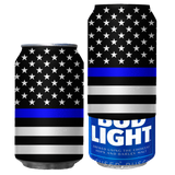 Thin Blue Line American Flag Beersy Silicone Sleeve Hide-a-Beer Can Cooler