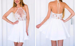 LACE HALTER PARTY DRESS