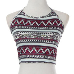 Aztec Halter Crop Top