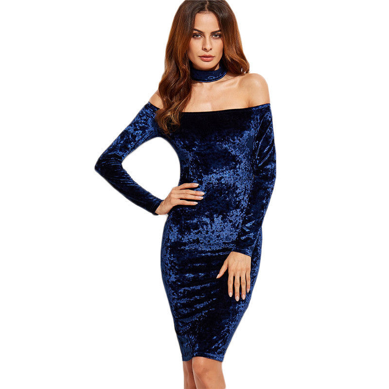 OFF SHOULDER VELVET CHOKER DRESS