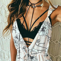 Strap V Neck Hollow Lace Bralette