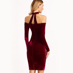 ALIAH OFF SHOULDER VELVET CHOKER DRESS