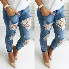 FLORAL DISTRESSED JEANS