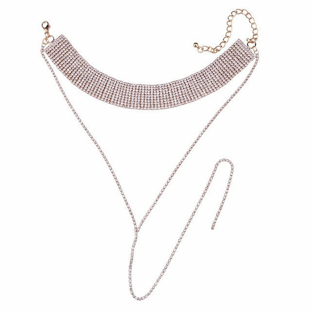LONG TAIL RHINESTONE CHOKER