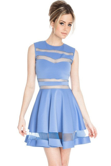MESH STRIPE MINI DRESS
