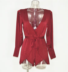 V-NECK SPLIT SLEEVE PLAYSUIT