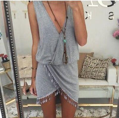 BOHO SLEEVELESS V-NECK MAXI DRESS