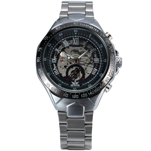 SEWOR Skeleton Stainless Steel Wristwatches
