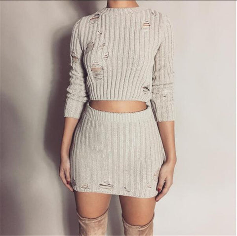 Distressed Knitted Two Piece