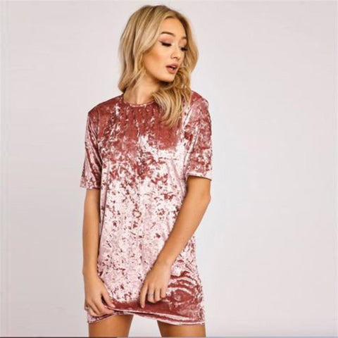 Velvet Short Sleeve Dress
