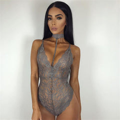 LACE CHOKER PLAYSUIT