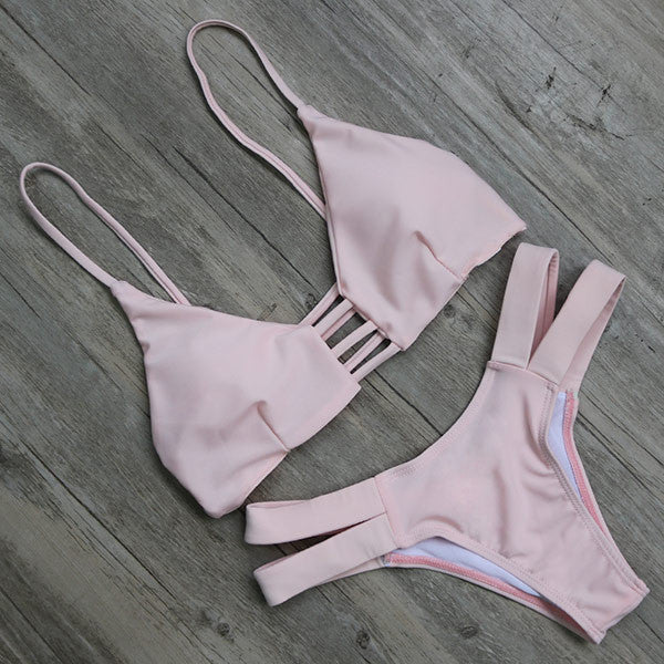 LIGHT PINK STRAPPY TWO PIECE BIKINI SET