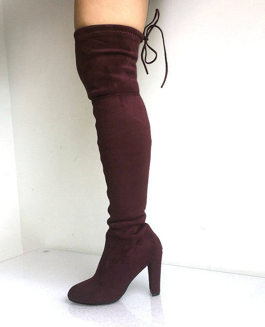 OVER THE KNEE LACE-UP SUEDE BOOTS