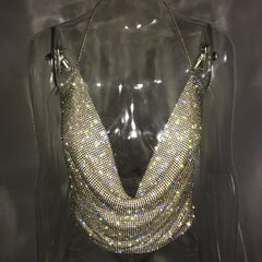 RHINESTONE HALTER CLUB TOP