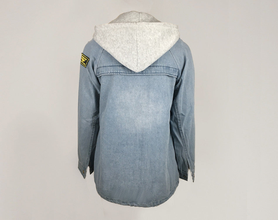 DOUBLE HOODED DENIM HOODIE