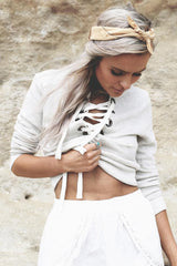 LACE-UP PULLOVER CROP TOP SWEATSHIRT