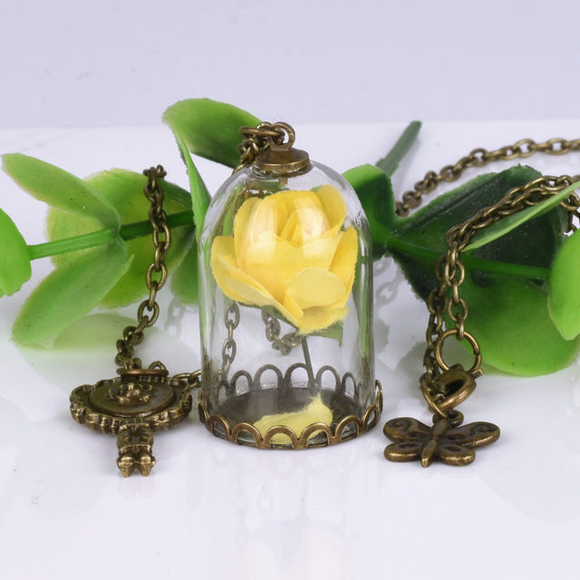 Enchanted Rose Necklace in Glass Dome Jewelry for Women - Available in Multiple Colors